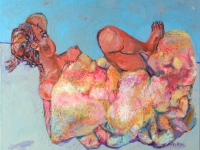 ' Woman in blanket '    2006  oil & tempera on canvas 135 x  165 cm