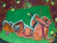 ' Picnic Purse '  2008  oil & tempera on canvas  140 x 160 cm