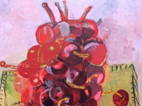 ' Cherries and yellow table '   2003 oil & tempera on canvas 150 x 200 cm