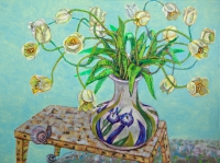 ' White tulips '   2011 oil & tempera on canvas 103 x 140 cm (verkauft)