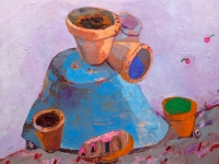 ' Blue pot on a hill '   2006 oil & tempera on canvas 140 x 160 cm