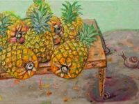 ' Pineapples '   2009 oil & tempera on canvas 205 x 95 cm