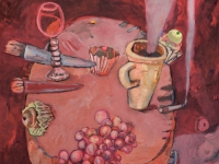 ' Red table '   2005 oil & tempera on canvas 135 x 160 cm
