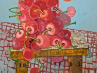 ' Cherries on table '   2009 oil & tempera on canvas 135 x 165 cm