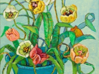 ' Tulips II '   2008 oil & tempera on canvas 143 x 78 cm