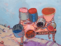 ' Pots on a hill II '   2006 oil & tempera on canvas 140 x 160 cm